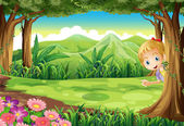 A young girl playing hide and seek at the forest — Stock Vector