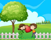 A couple at the hilltop near the wooden fence — Stock Vector