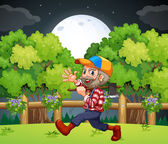 An old lumberjack carrying an axe while walking — Stock Vector