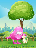 A pink monster and a monster cat near the tree — Stock Vector