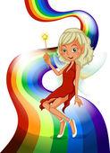 A rainbow with a pretty fairy — Stock Vector