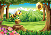 A bee carrying a pot of honey at the forest — Stock Vector