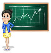 A businesswoman thinking in front of the blackboard — Stock Vector