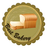 A best bakery label with fresh sliced breads — Stock Vector