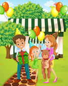 A happy family celebrating outside the house — Stock Vector