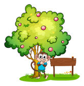 A cute monkey under the tree beside the empty wooden board — Stock Vector
