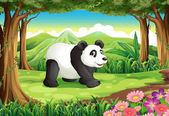 A big panda bear at the forest — Stock Vector