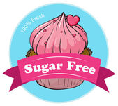 A sugar free label with a fresh cupcake — Stock Vector