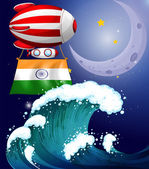 A balloon with the flag of India above the giant waves — Stock Vector