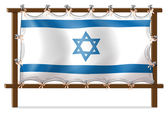 A wooden frame with the Israel flag — Stock Vector