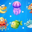 A sea with smiling creatures — Stock Vector #42230909