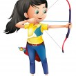 A young girl playing archery — Stock Vector