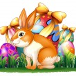 A cute bunny in front of the Easter eggs — Stock Vector