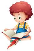 A young boy reading — Stock Vector