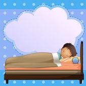 A boy sleeping soundly with an empty callout — Stock Vector