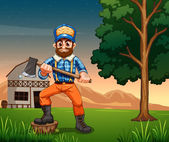A lumberjack standing near the tree while holding a sharp axe — Stockvektor