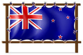 The flag of New Zealand tied to a wooden frame — Stock Vector