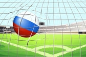 A soccer ball with the flag of Russia hitting a goal — Stock Vector
