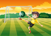 An athlete kicking the ball with the flag of Pakistan — Stock Vector