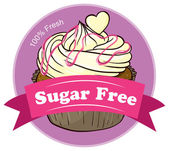 A sugar free label with a delicious cupcake — Stock Vector
