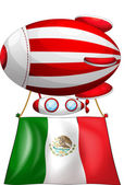 The flag of Mexico attached to a floating balloon — Stock Vector