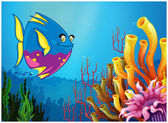 An underwater view with a big fish and beautiful coral reefs — Stock Vector