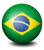 A soccer ball with the flag of Brazil — Stock Vector