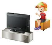 A happy kid watching TV — Stock Vector