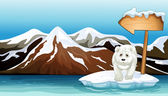 A polar bear above the iceberg with a signboard — Stock Vector