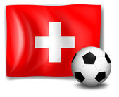 The flag of Switzerland at the back of a soccer ball — Stock Vector
