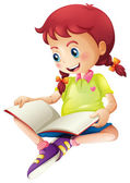 A young lady reading a book — Stockvector