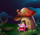 страшно монстр у грибов дома — Cтоковый вектор