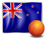 A ball in front of the flag of New Zealand — Stock Vector