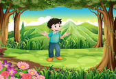 A lost young man in the middle of the forest — Stock Vector