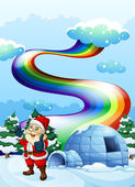 A smiling Santa near the igloo with a rainbow in the sky — Stock Vector