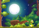 A forest with a smiling frog near the rock — Stock Vector