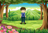 A timid young boy at the forest — Stock Vector