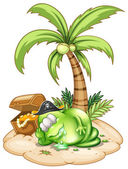 A sleeping pirate monster under the coconut tree — Stock Vector