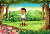 A schoolboy in the middle of the forest — Stock Vector
