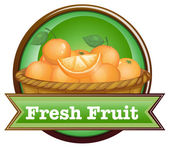 A basket of oranges with a fresh fruit label — Cтоковый вектор
