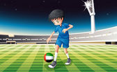 A boy kicking the ball with the United Arab Emirates flag — Stock Vector