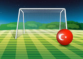 A ball at the soccer field with the flag of Turkey — Stock Vector