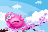 A pink monster resting at a branch of a tree — Stock Vector