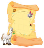 A white horse and a treasure map — Stock Vector