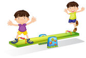 Kids playing with the seesaw — Stock Vector