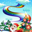 A smiling Santa with a rainbow in the sky — Stock Vector