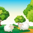 Two white sheeps at the hilltop — Stock Vector