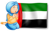 A girl in front of the United Arab Emirates flag — Stock Vector
