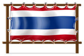 The flag of Thailand attached to the wooden frame — Stock Vector
