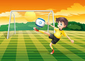 A girl kicking the ball with the Israel flag — Stock Vector
